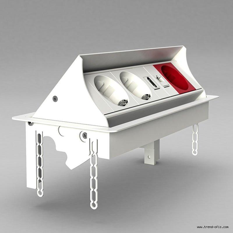 3614 Metal Masa Üstü Priz Kasası (Gömme Priz Kanalı) 8 Modül
